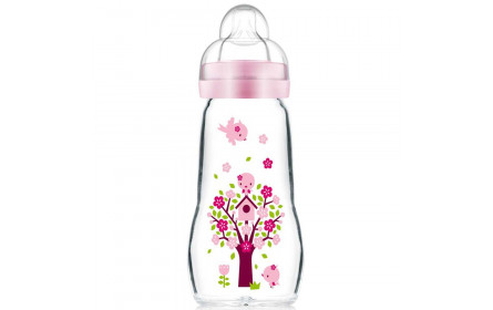 Biberon Feel Good  1er Age en Verre Rose 260ml 2+mois BABY MAM