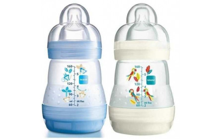 Mam Anti colic baby bottle blue/white 160ml offer x 2
