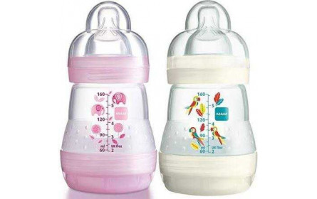 Mam Anti colic bottle pink/white 160ml offer x 2